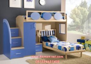 Bunk Bed Anak Perempuan Laki-Laki Biru Tua