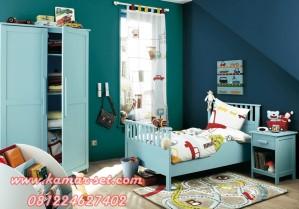 Model Set Tempat Tidur Anak Minimalis Biru Tosca