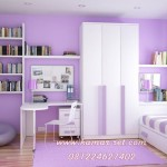 Desain Kamar Tidur Anak 4 X 3 Warna Ungu