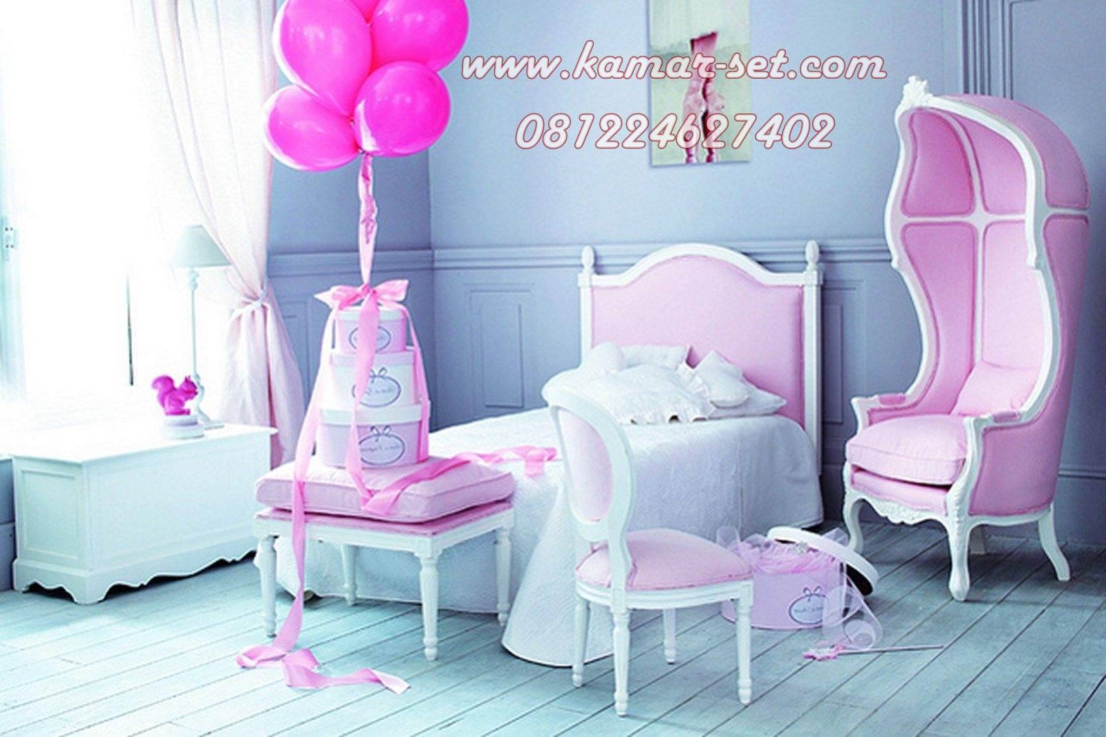 desain kamar tidur anak pink single ranjang perempuan