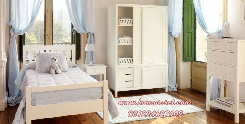 Set Kamar Anak Single Putih Minimalis Simple KSKTA-144
