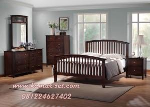 Set Tempat Tidur Jari Jari Minimalis Kayu Jati Murah
