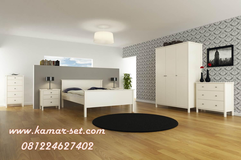Set Tempat Tidur Minimalis Modern Simple Putih KSM-202