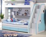 Tempat Tidur Bunk Bed Anak Warna Putih Biru Tosca