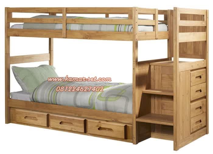 Jual Tempat Tidur Tingkat Berlaci Kayu Jati Terbaik Model