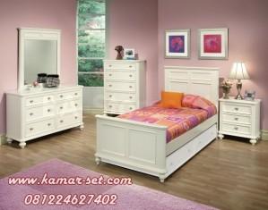 Tempat Tidur Anak Set Single Minimalis Berwarna Putih Duco