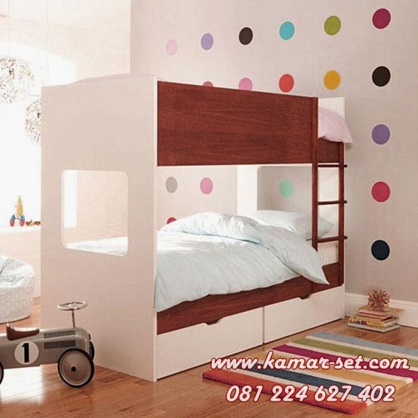 Tempat Tidur Tingkat Kotak Minimalis Putih Coklat