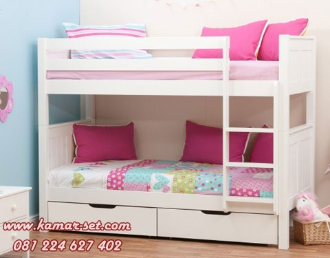 Ranjang Susun Anak Perempuan Putih Kamar Tidur Sempit