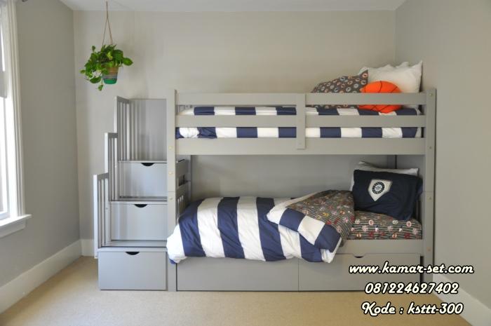 Bed Susun Tangga Laci Minimalis Warna Gray