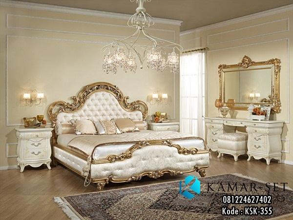 Tempat Tidur Gold Mewah Ukir Klasik Vanity