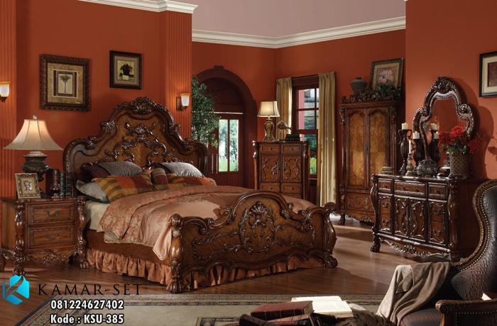 Set Tempat Tidur Ukir Mewah KSU-385, Set Kamar Utama, Ranjang Klasik, Tempat Tidur Klasik Eropa