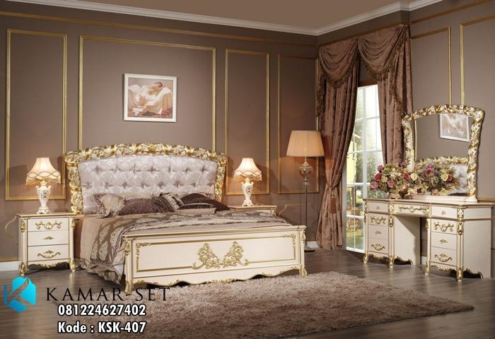Set Tempat Tidur Mewah Elegan Ukir KSK-407