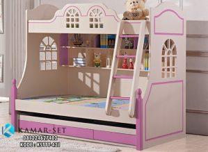 Tempat Tidur Tingkat Pink Soft Pagar Jendela Rumah
