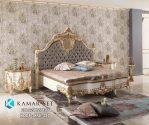 Tempat Tidur Putih Gold Klasik Ukir Mewah