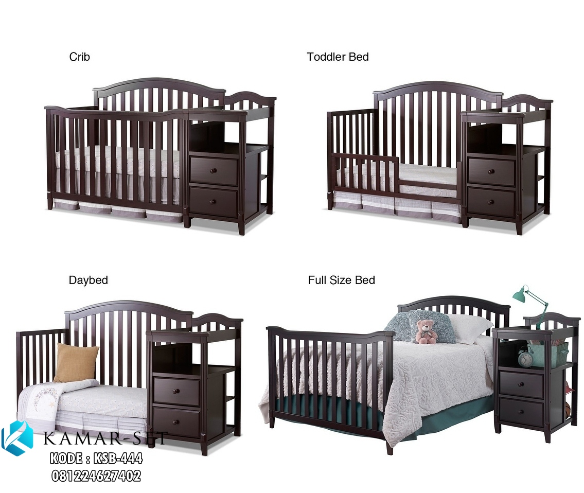Gambar Tempat Tidur Bayi 4 in One Espresso Mutifungsi