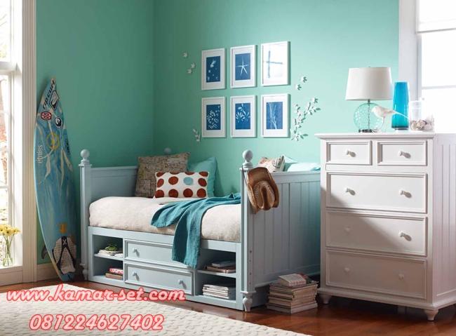 Desain Kamar Tidur Anak Minimalis Dinding Biru