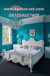 Tempat Tidur Mewah Ukir Simple Terbaru Turquoise