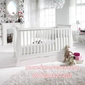 Box Bayi Kayu Sorong Klasik Minimalis Putih