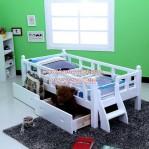 Tempat Tidur Anak Berpagar Laci Putih Duco Murah