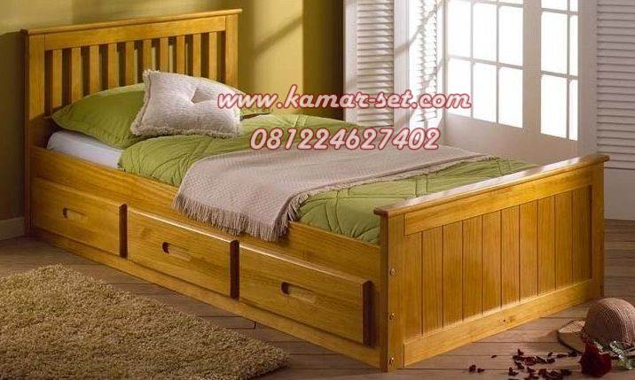 Tempat Tidur Single Anak Murah 3 Laci Kayu Jati