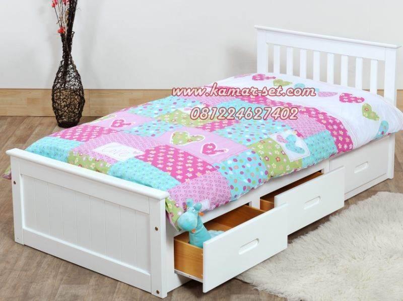 Gambar Tempat Tidur Single Anak Murah 3 Laci Putih Duco