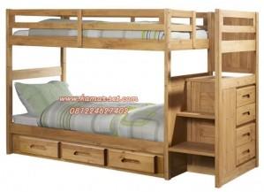 Tempat Tidur Tingkat Berlaci Minimalis Kayu Jati