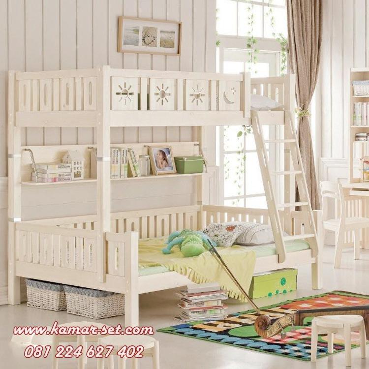 Tempat Tidur Minimalis Tingkat Putih Krem