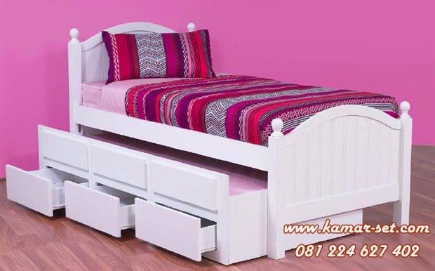 Tempat Tidur Single Sorong Putih 3 Laci