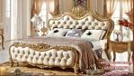 Tempat Tidur Mewah Ukuran Queen Warna Gold Ukir