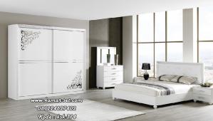 Set Tempat Tidur Minimalis Lemari Pintu Sliding Putih Duco KSM-314