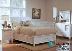 Tempat Tidur Minimalis Putih Queen Laci