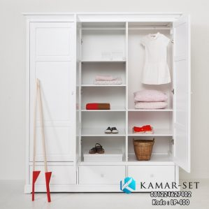 Lemari Pakaian Anak Minimalis Putih Duco