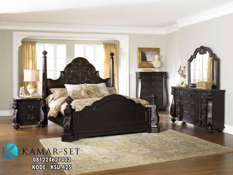 Set Tempat Tidur Ukiran Black Elegan KSU-425