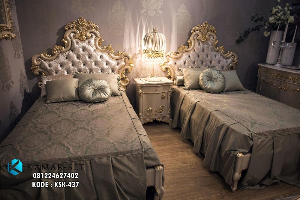 Tempat Tidur Anak Kembar Klasik Eropa Mewah Gold KSK-437