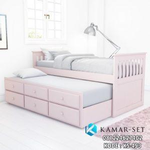Tempat Tidur Sorong Pink Pastel Anak Perempuan