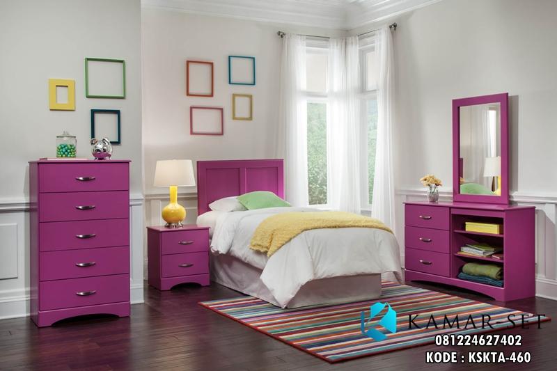 Set Kamar Tidur Anak Minimalis Purple