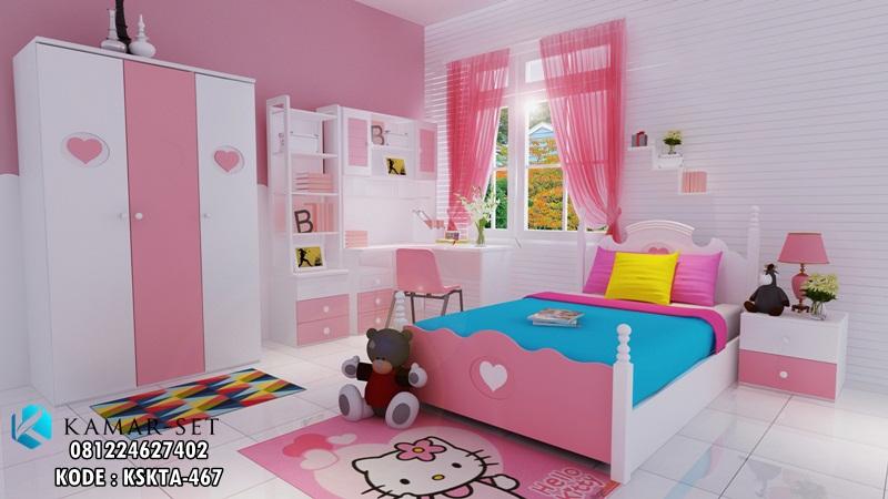 Set Tempat Tidur Anak Perempuan Putih Pink Lengkap