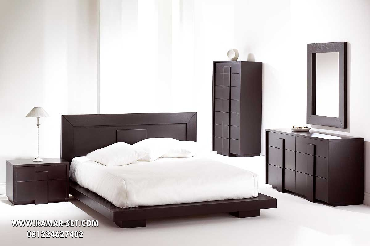 Tempat Tidur Kayu Jati Minimalis Modern Warna Hitam