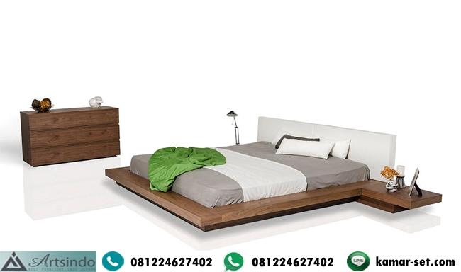 Tempat Tidur Kayu Jati Minimalis Modern Elegan King Bed