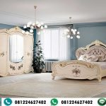Set Kamar Klasik Lukisan Bunga Elegan Lemari 6 Pintu Mewah